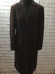 Ladies Brown Virgin Wool Mix Long Coat Crombie Style Knee Length UK 12 Smart