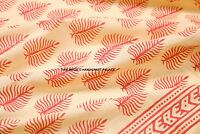 Indian 100% Cotton Voile Fabric Sewing Hand Block Leaf Print Craft 5/10 yard