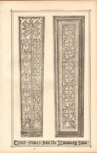 1870 Ca ANTIQUE ARCHITECTURE, DESIGN PRINT- TOMB STONES FROM THE NUNNERY, IONA