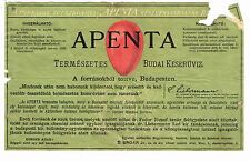 1900s Hungary to Spain Apenta green Medicinal Water Label Stephens Coll