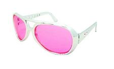 King Elvis Presley Costume Sunglasses Glasses Aviator Style Pink Lens Sliver Frm