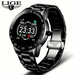 2020 LIGE Steel Band Smart Watch Men Health Tracker IP67 Waterproof Wrist Watch