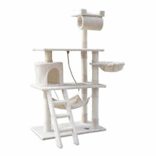 Cat Scratching Post Tree Scratcher Pole Furniture Gym House Toy 141cm Beige