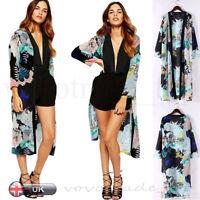 UK Women Boho Chiffon Long Maxi Open Cardigan Shirt Jacket Kimono Coat Cover up