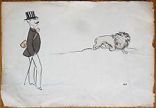 Estampe lithographie en couleurs de SEM Luzarche Lion vers 1920