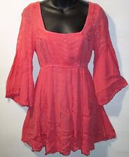 Top Medium Coral Lace & Embroidery Empire Waist Long Tunic Wide Sleeves NWT 6707