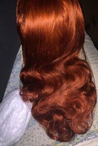 alexis,m ginger  14inches bob highlights tousled fringe long wavy human hair wig