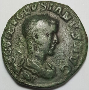 Ancient Roman Provincial Coin Volusian 251-253AD Large Sestertius Bull and Lion