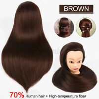 70% Real Human Hair Pro Salon Hair Training Head Hairdressing Styling Mannequin