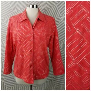 Coldwater Creek Size Medium Jacket Blazer Colorful career Embroidered button up