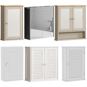 Bathroom Wall Cabinet Mounted Mirrored Cupboard 1 2 Door Storage Unit White Grey