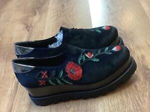 Women's brogue wedge  platform pumps Shoes Black