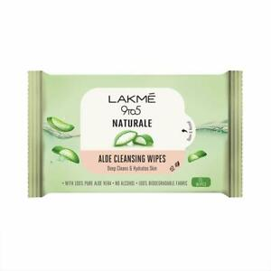 Lakmé 9 to5 Natural Aloe Cleansing Wipes, 25wipes Free Shipping