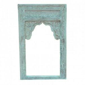 Made to Order Mehrab Indian Hand Carved Mirror Arched Globe Wooden Wall Decor M