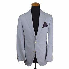 Men's Summer Blazer size 38S Slim Cotton Coat Blue Striped gr 24 Unlined Casual