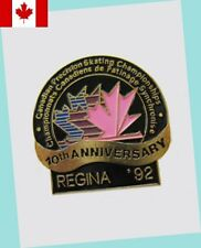 1992 Regina Canadian Precision Skating Championships Lapel Pin EX - 10TH ANNIVER