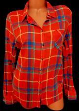 Merona orange blue plaid long sleeves front pocket plus buttoned down top XXL