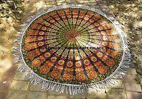 Indian Mandala Round Beach Throw peacock Print Yoga Mat Handmade Cotton Tapestry