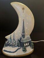 VINTAGE CHRISTMAS CERAMIC MOON  SNOW TOPPED VILLAGE FIGURE NIGHTLIGHT LIGHT UP