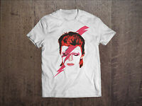 David Bowie Men White T-shirt Rock Tee Shirt Ziggy Stardut Vintage