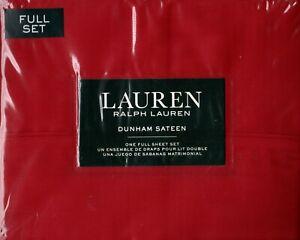 Ralph Lauren Full Sheet Set Dunham Sateen Admiral Red 4pc Christmas Cottage 300T