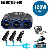12V-24V Socket MP3 GPS DVR Power Splitter Adapter Cigarette Lighter Charger DP/