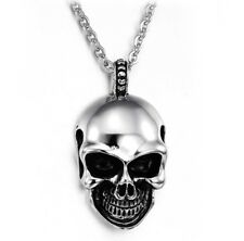 Fashion Mens Punk Stainless Steel Skull Head Pendant Chain Hip-hop Necklace