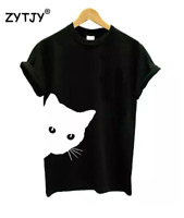 Cat Looking Side Printing Female T-shirt Cotton Casual Funny T-shirt for Lady Gi