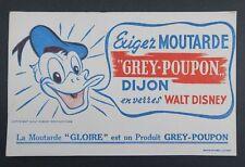 BUVARD Moutarde GREY-POUPON Donald Walt Disney WD Blotter Löscher BLANC