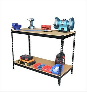 Heavy Duty Black Metal Workbench Workstation Unit Shelving Garage Shed Capacity