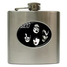 """Kiss Black Stainless Steel Hip Flask (6 oz) 3 1/2"""" w x 4 1/4"""" h Gift NEW"""