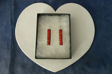Beautiful Silver Earrings With Red Coral 4.1 Grams 3 Cm.Long + Hooks In Gift Box