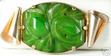 Vintage Very Art Deco Green Yellow Carved Bakelite Pin