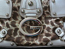 GUESS PURSE White with Leopard Print & metal studs