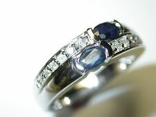 SAPPHIRE AND DIAMOND RING 14 K WHITE GOLD 0.75 CT TOTAL WEIGHT GENUINE SAPPHIRES