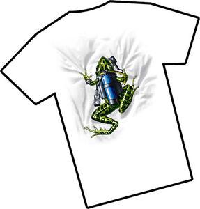 Amphibious Outfitters T-Shirt - Scuba Frog - White - Dive - D0001W