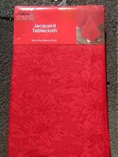 "RED POINSETTIAS CHRISTMAS FABRIC TABLECLOTH~52""x70"" Oblong~Sateen like Shine~NEW"