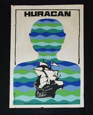 """1986 Original Cuban Movie Poster.Plakat.Huracan""""Hurricane""""Sailship art.Sail ship"""