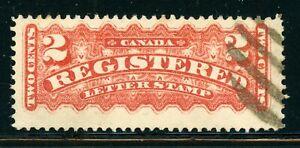 CANADA Used Selections: Scott #F1b 2c Rose Car REGISTRATION Stamp (1875) CV$110+