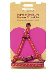 ROSEWOOD QUALITY SMALL DOG PUPPY HARNESS  LEAD SET ADJUSTABLE RED & BONE PRINT
