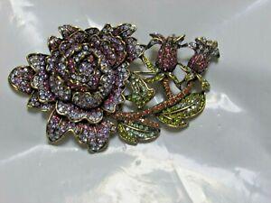 Heidi Daus MOODY HUE Swarovski Crystal FLOWER Pin cabbage rose NWOT PURPLE MINT