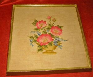 Original Vintage Needlepoint Floral Urn with Flowers Framed Embroidery Romantic