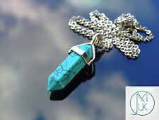 Green Turquiose Crystal Point Pendant Manmade Gemstone Necklace