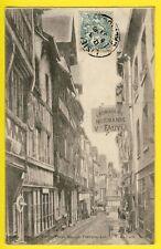 cpa 14 - LISIEUX en 1903 Rue aux FÈVES FROMAGERIE Normande FAUVEL cheese shop