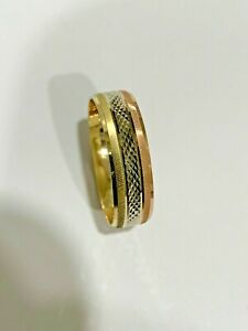 14k Solid Tricolor Gold Men's Women's Engagement Wedding Band Ring 6mm size 5-13