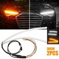 Dual Color LED Headlight Surface Switchback Strip Tube Soft Flowing Bar DRL 2pcs