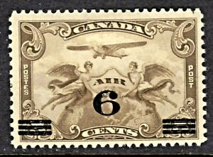 CANADA AIR MAIL #C3 5c OLIVE BROWN, 1932 SURCHARGED, F, MINT HINGED
