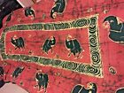 """India Indian Elephant Design Wall Hanging Bed Spread Rust  48"""" X 88"""" SKU 001-048"""