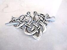 Silver celtic knot viking metal filigree hair slide stick clip barrette