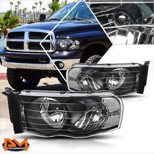 For 02-05 Dodge Ram 1500-3500 Black Housing Headlight Clear Corner Signal Lamps